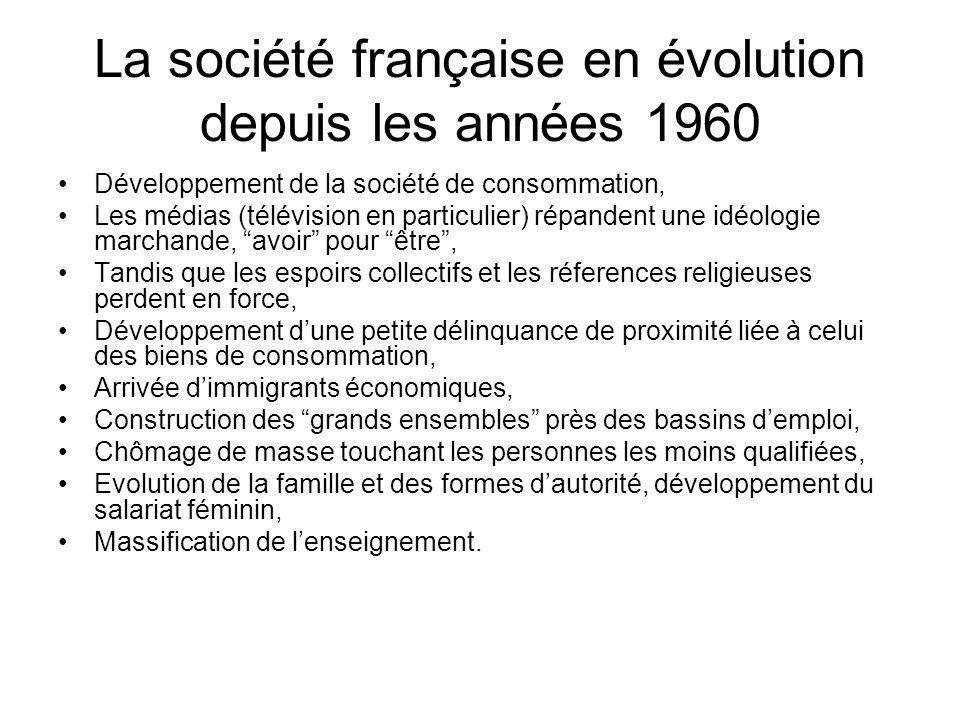 La société française en évolution depuis les années 1960