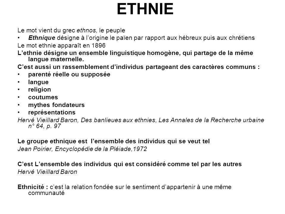 ETHNIE Le mot vient du grec ethnos, le peuple