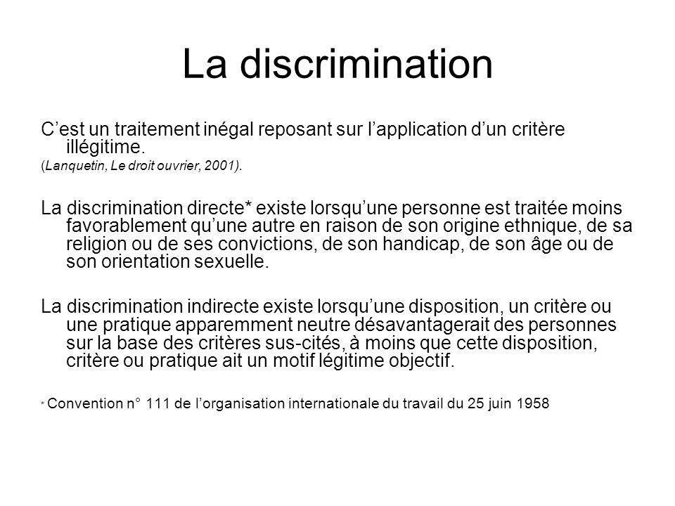 La discrimination C'est un traitement inégal reposant sur l'application d'un critère illégitime. (Lanquetin, Le droit ouvrier, 2001).