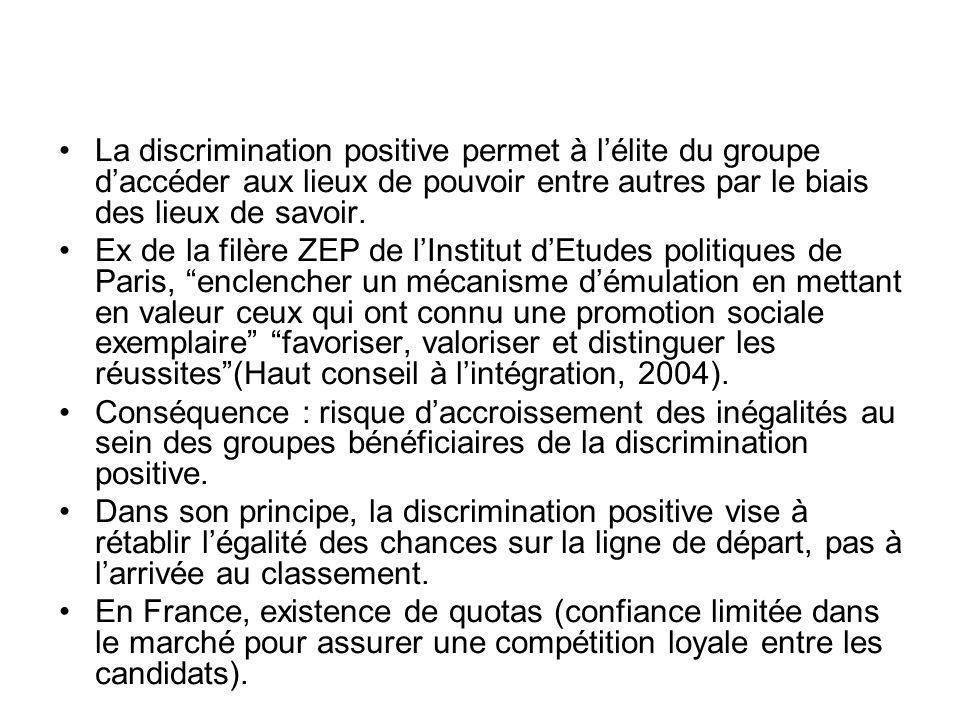 La discrimination positive permet à l'élite du groupe d'accéder aux lieux de pouvoir entre autres par le biais des lieux de savoir.