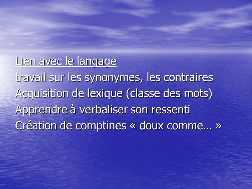 Lien avec le langage travail sur les synonymes, les contraires. Acquisition de lexique (classe des mots)