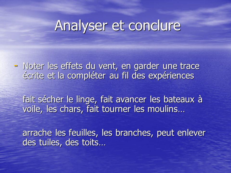 Analyser et conclureNoter les effets du vent, en garder une trace écrite et la compléter au fil des expériences.