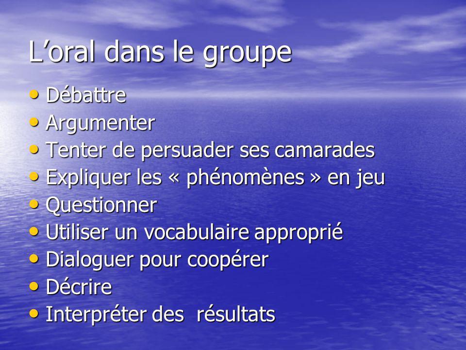 L'oral dans le groupe Débattre Argumenter
