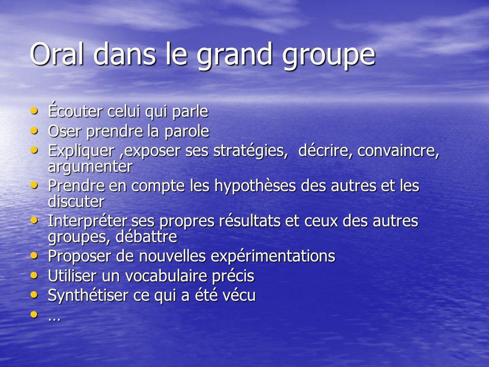 Oral dans le grand groupe