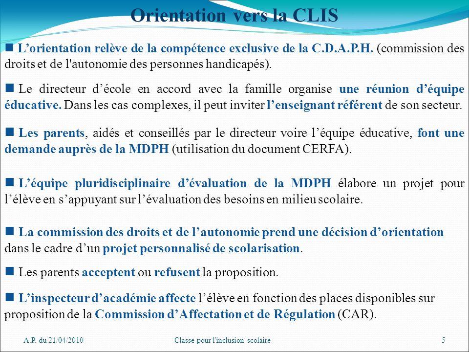 Orientation vers la CLIS