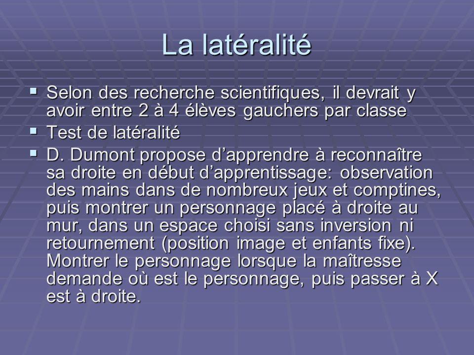La latéralité Selon des recherche scientifiques, il devrait y avoir entre 2 à 4 élèves gauchers par classe.