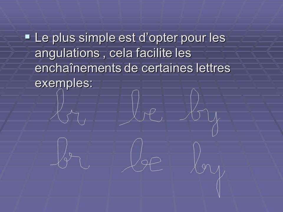 Le plus simple est d'opter pour les angulations , cela facilite les enchaînements de certaines lettres exemples: