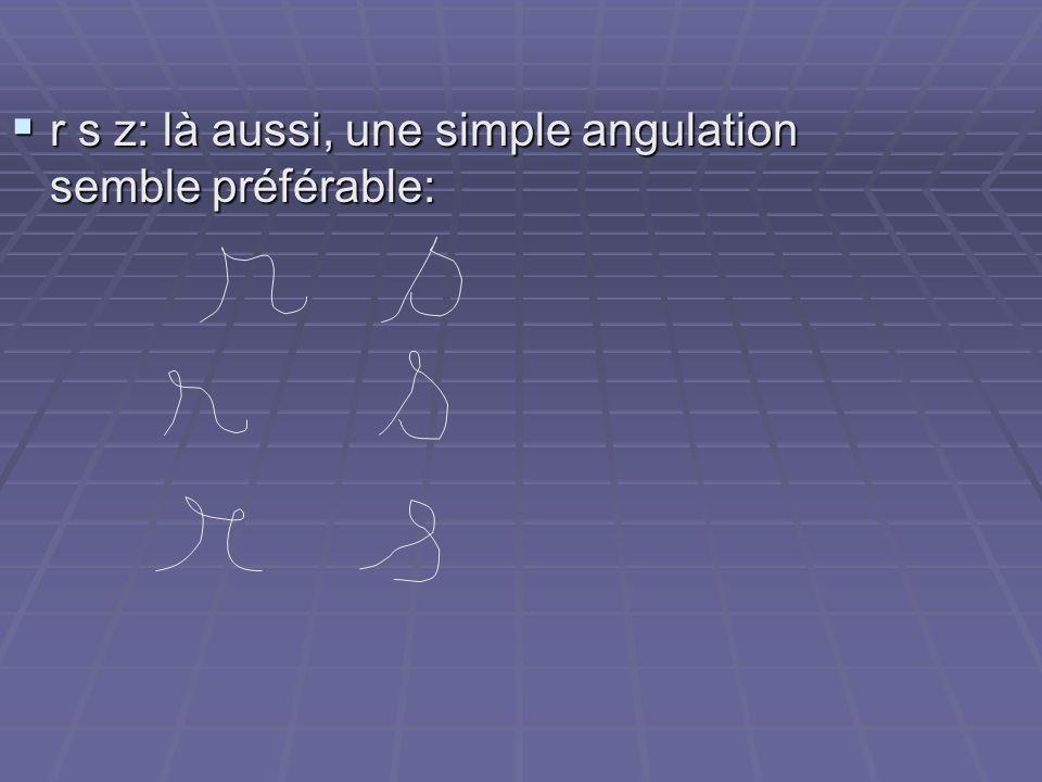 r s z: là aussi, une simple angulation semble préférable: