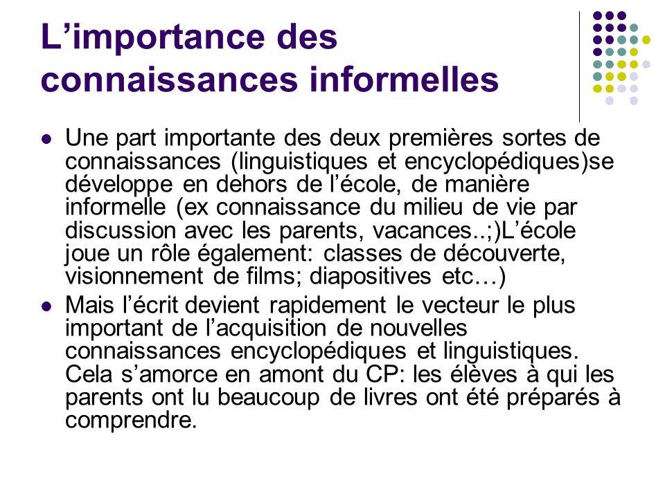 L'importance des connaissances informelles