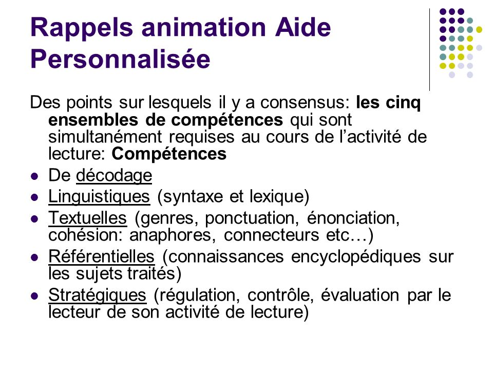 Rappels animation Aide Personnalisée