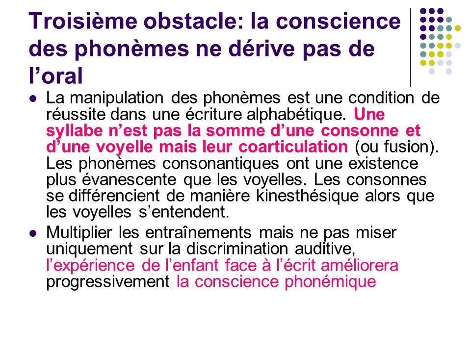 Troisième obstacle: la conscience des phonèmes ne dérive pas de l'oral