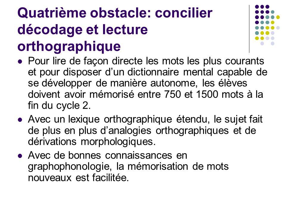 Quatrième obstacle: concilier décodage et lecture orthographique