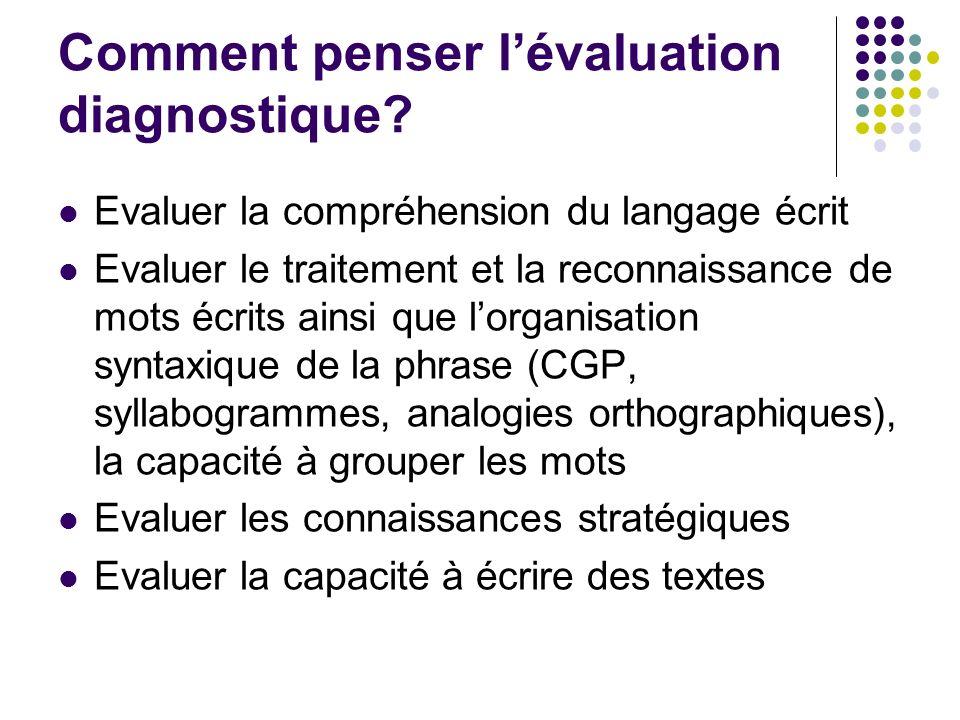 Comment penser l'évaluation diagnostique