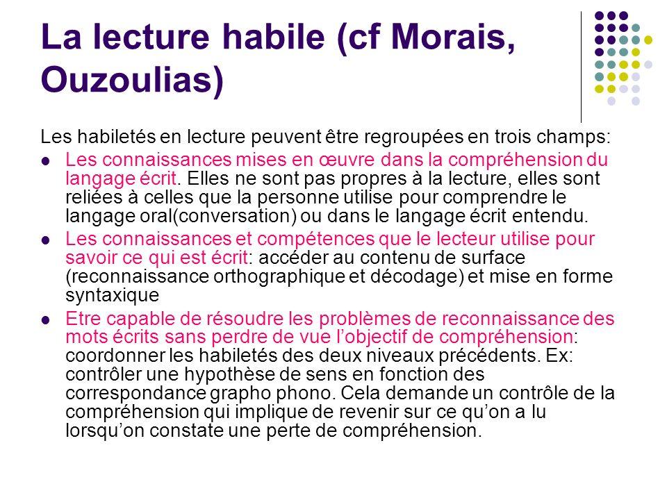 La lecture habile (cf Morais, Ouzoulias)