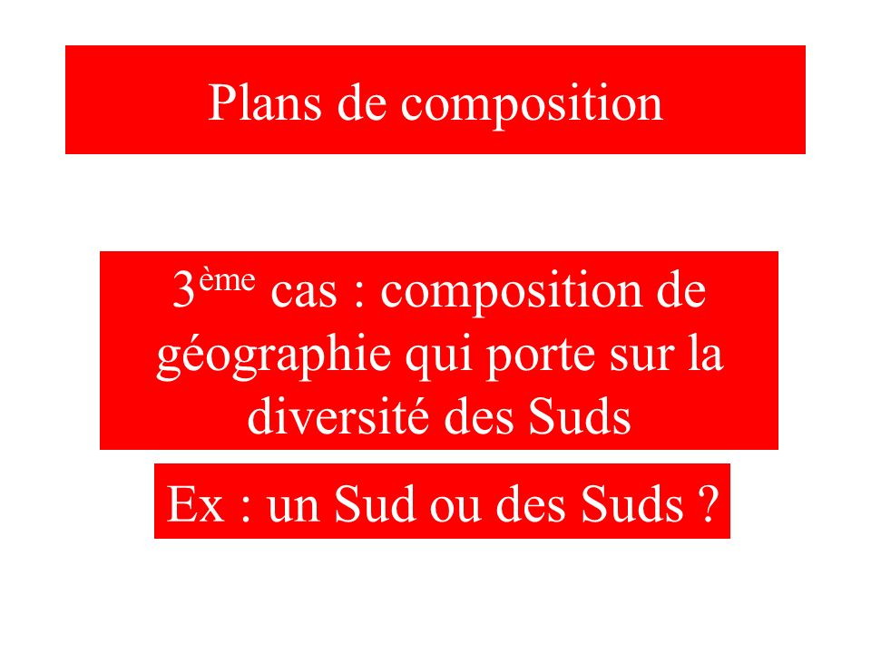 Plans de composition3ème cas : composition de géographie qui porte sur la diversité des Suds.