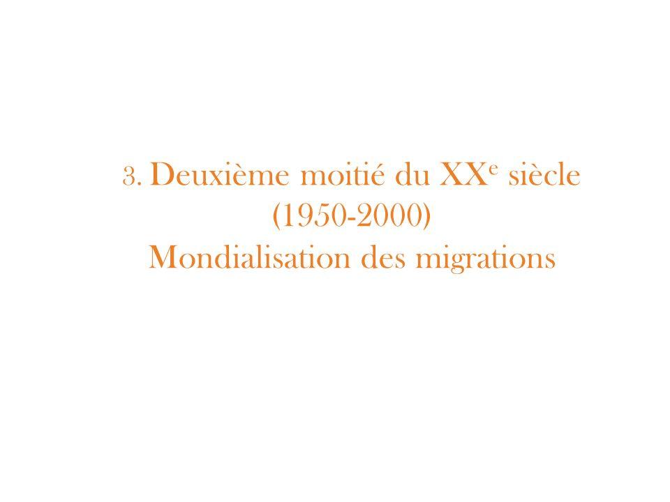 3. Deuxième moitié du XXe siècle (1950-2000) Mondialisation des migrations