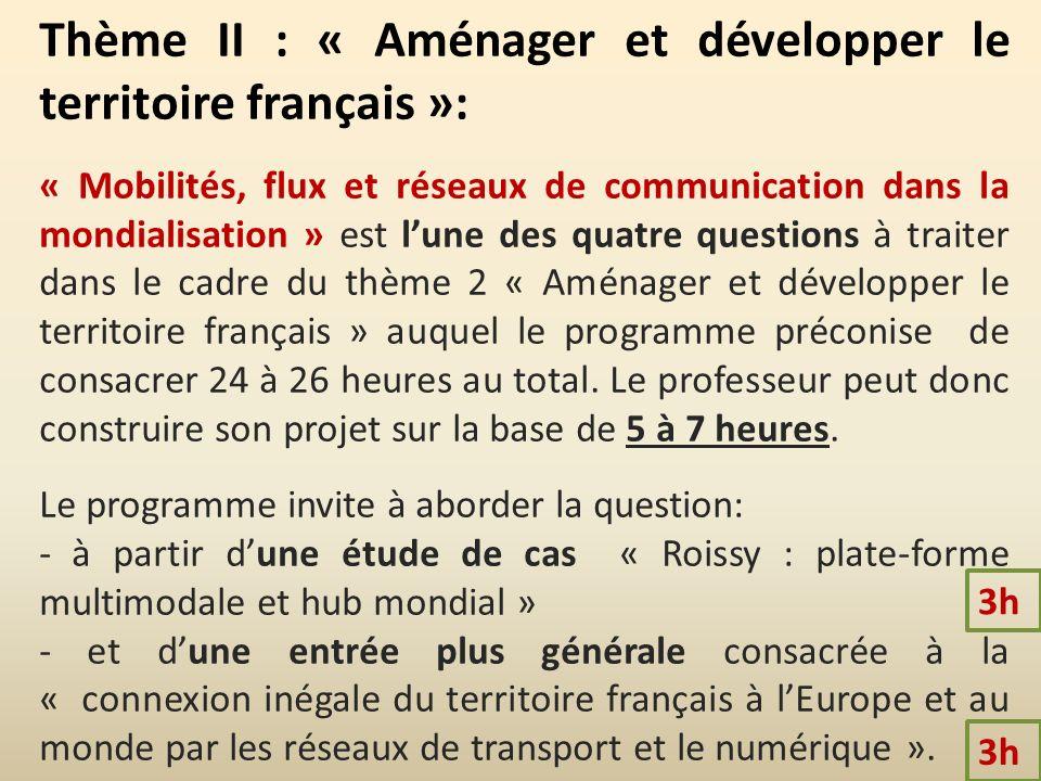Thème II : « Aménager et développer le territoire français »: