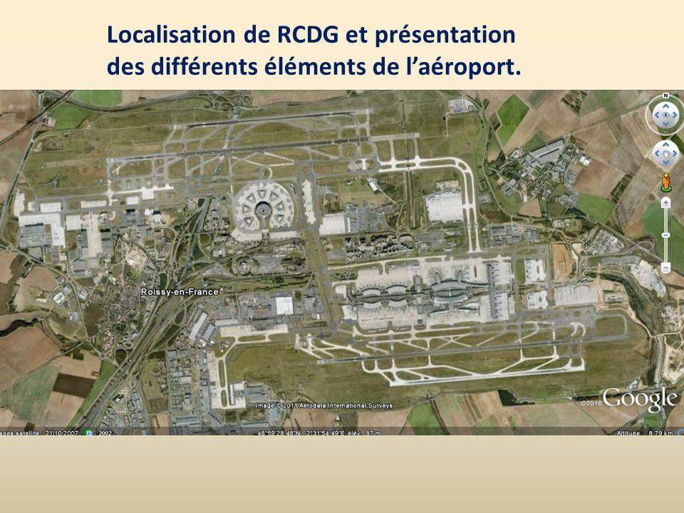 Localisation de RCDG et présentation des différents éléments de l'aéroport.