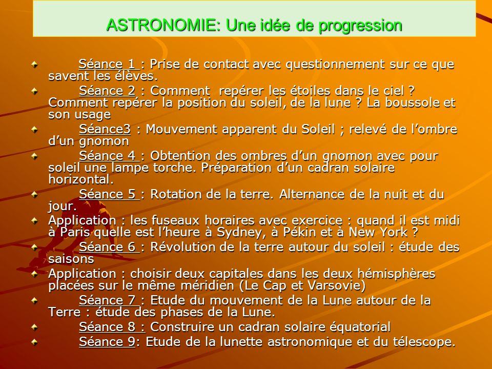 ASTRONOMIE: Une idée de progression