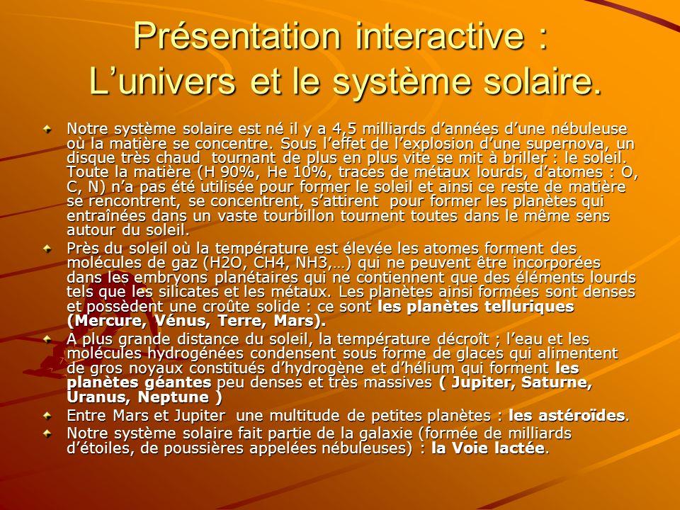 Présentation interactive : L'univers et le système solaire.