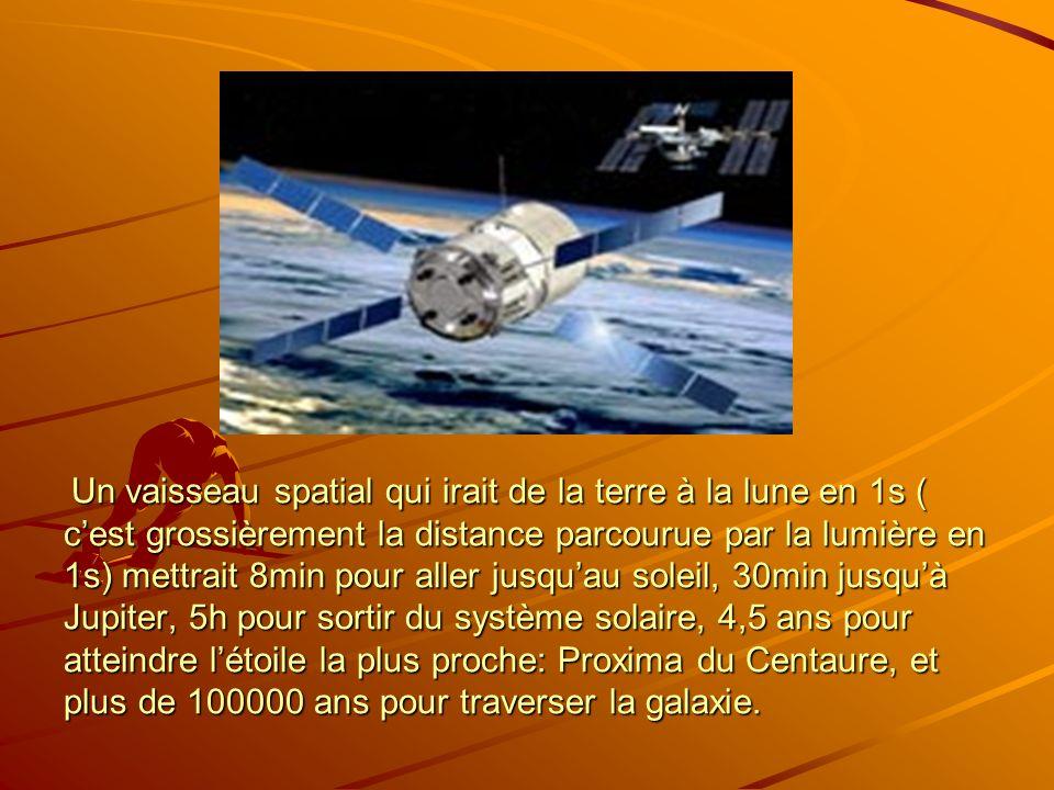 Un vaisseau spatial qui irait de la terre à la lune en 1s ( c'est grossièrement la distance parcourue par la lumière en 1s) mettrait 8min pour aller jusqu'au soleil, 30min jusqu'à Jupiter, 5h pour sortir du système solaire, 4,5 ans pour atteindre l'étoile la plus proche: Proxima du Centaure, et plus de 100000 ans pour traverser la galaxie.