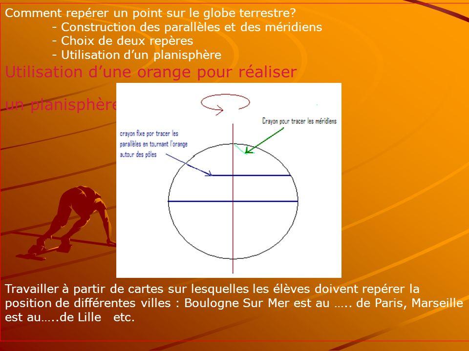 Utilisation d'une orange pour réaliser un planisphère