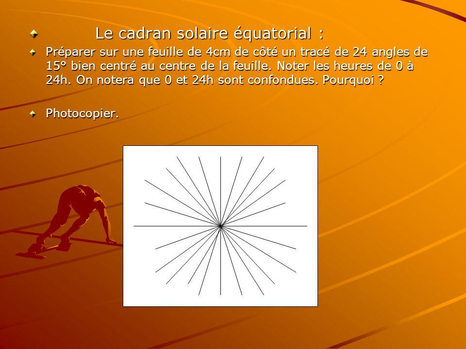 Le cadran solaire équatorial :