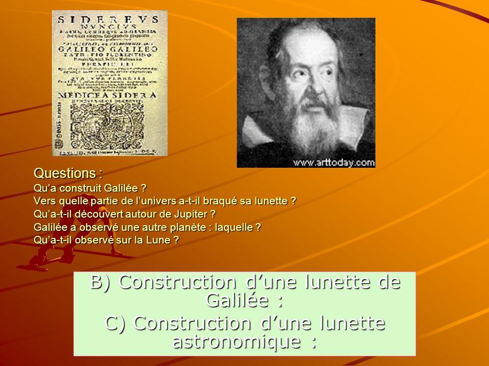 B) Construction d'une lunette de Galilée :