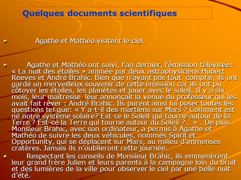 Quelques documents scientifiques