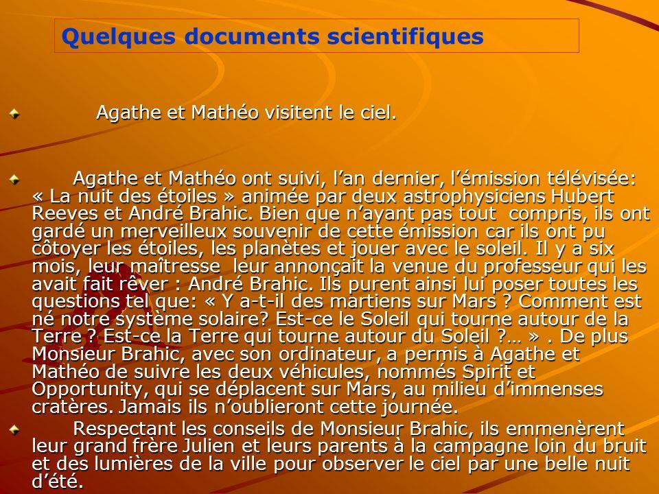 Quelques documents scientifiques