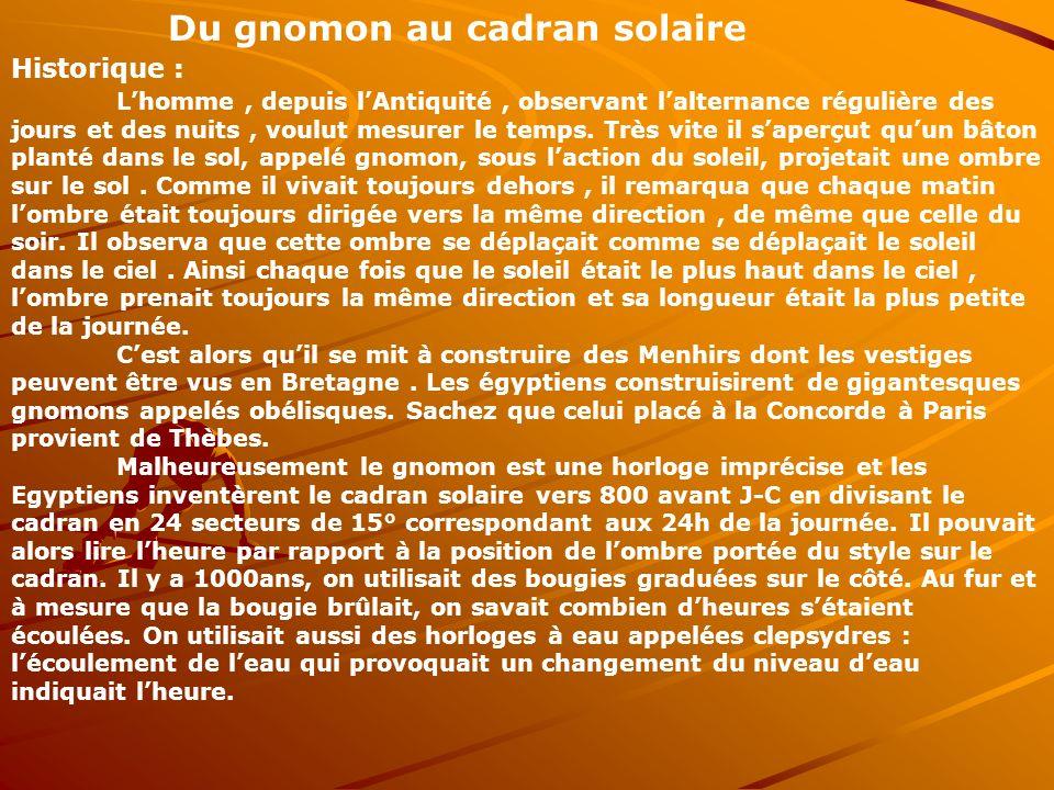 Du gnomon au cadran solaire