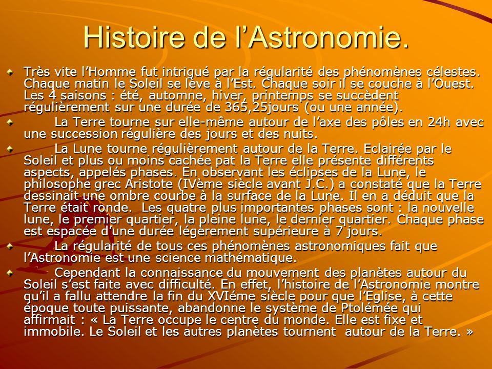 Histoire de l'Astronomie.