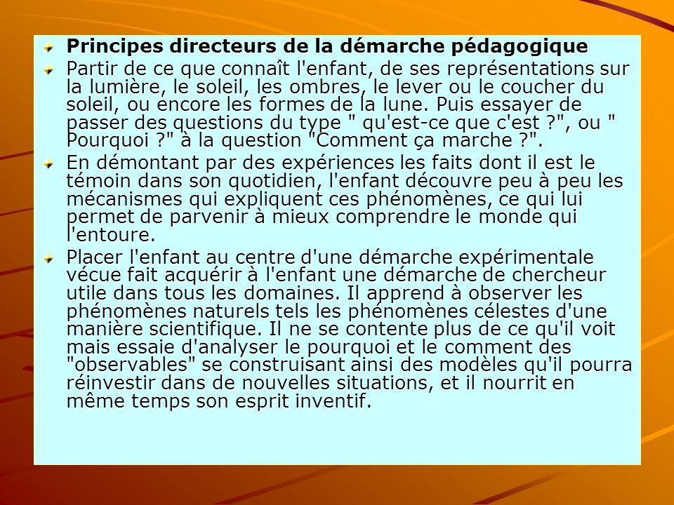 Principes directeurs de la démarche pédagogique