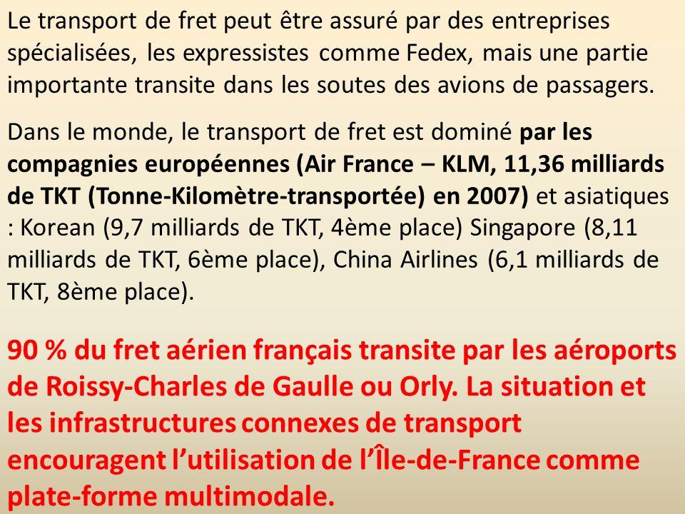 Le transport de fret peut être assuré par des entreprises spécialisées, les expressistes comme Fedex, mais une partie importante transite dans les soutes des avions de passagers.