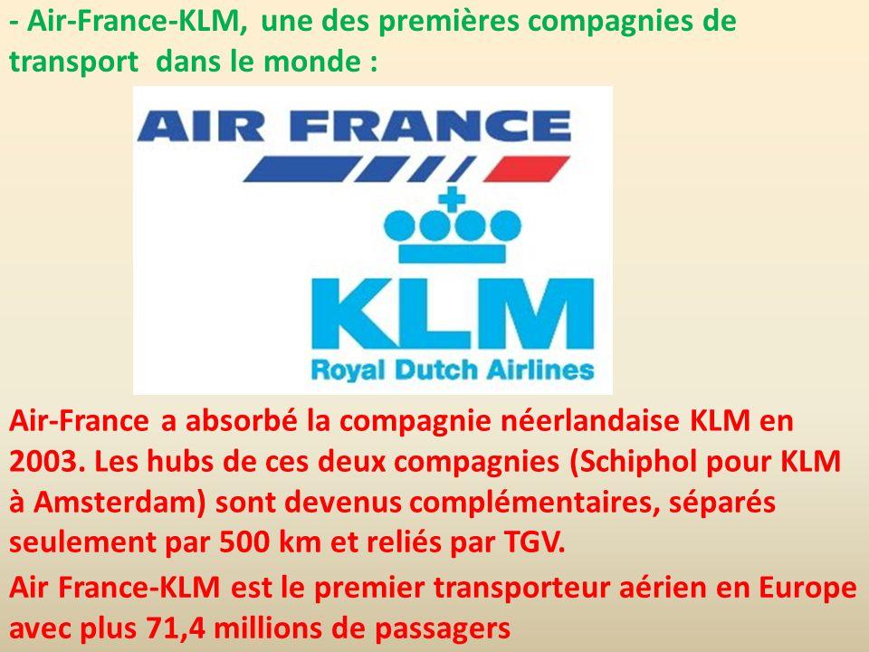 - Air-France-KLM, une des premières compagnies de transport dans le monde :