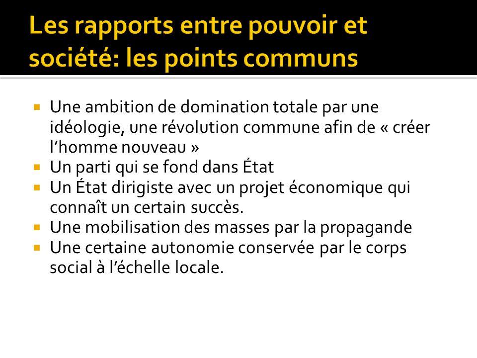 Les rapports entre pouvoir et société: les points communs