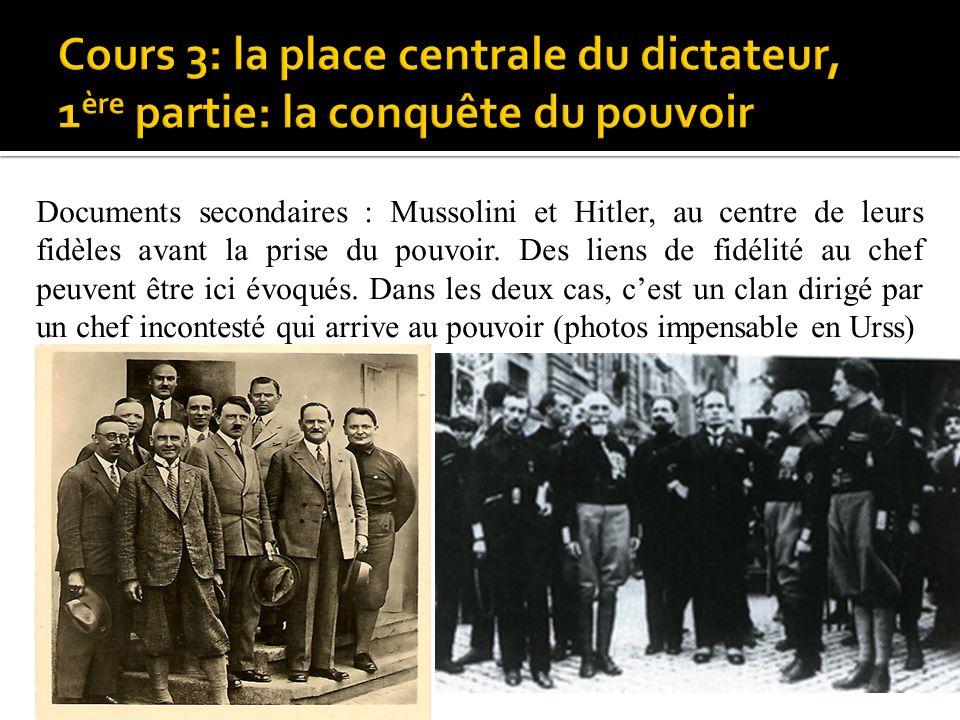 Documents secondaires : Mussolini et Hitler, au centre de leurs fidèles avant la prise du pouvoir. Des liens de fidélité au chef peuvent être ici évoqués. Dans les deux cas, c'est un clan dirigé par un chef incontesté qui arrive au pouvoir (photos impensable en Urss)