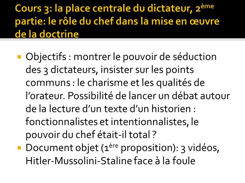 Cours 3: la place centrale du dictateur, 2ème partie: le rôle du chef dans la mise en œuvre de la doctrine