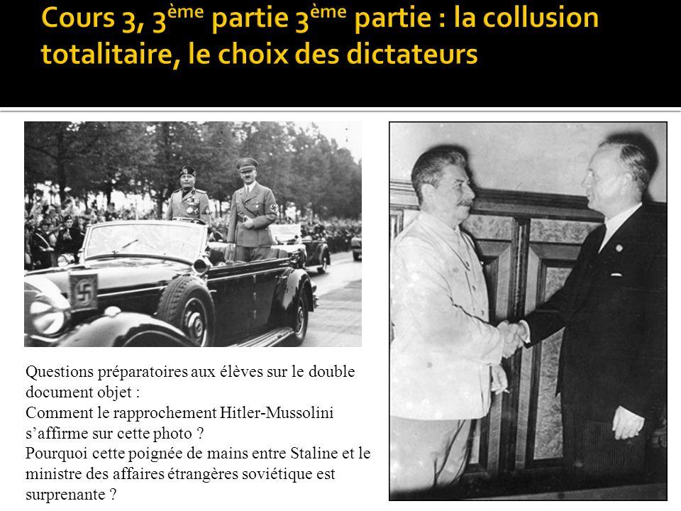 Cours 3, 3ème partie 3ème partie : la collusion totalitaire, le choix des dictateurs