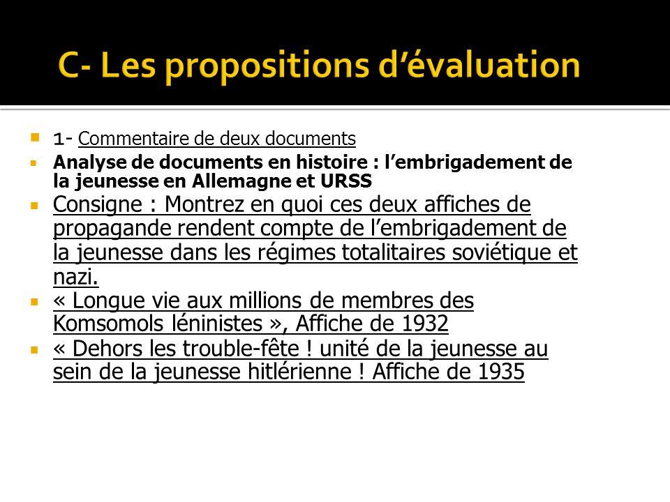 C- Les propositions d'évaluation