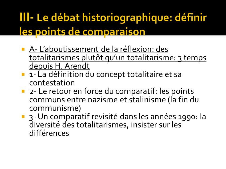 III- Le débat historiographique: définir les points de comparaison
