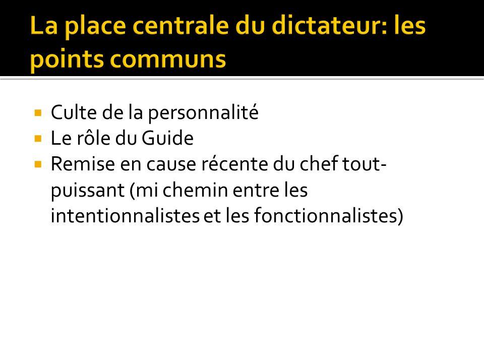 La place centrale du dictateur: les points communs