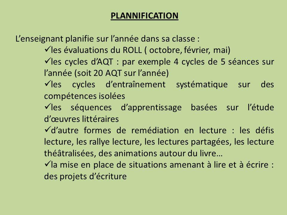 PLANNIFICATION L'enseignant planifie sur l'année dans sa classe : les évaluations du ROLL ( octobre, février, mai)