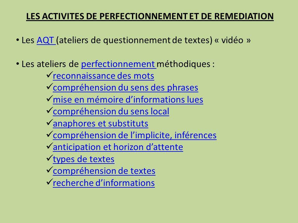 LES ACTIVITES DE PERFECTIONNEMENT ET DE REMEDIATION