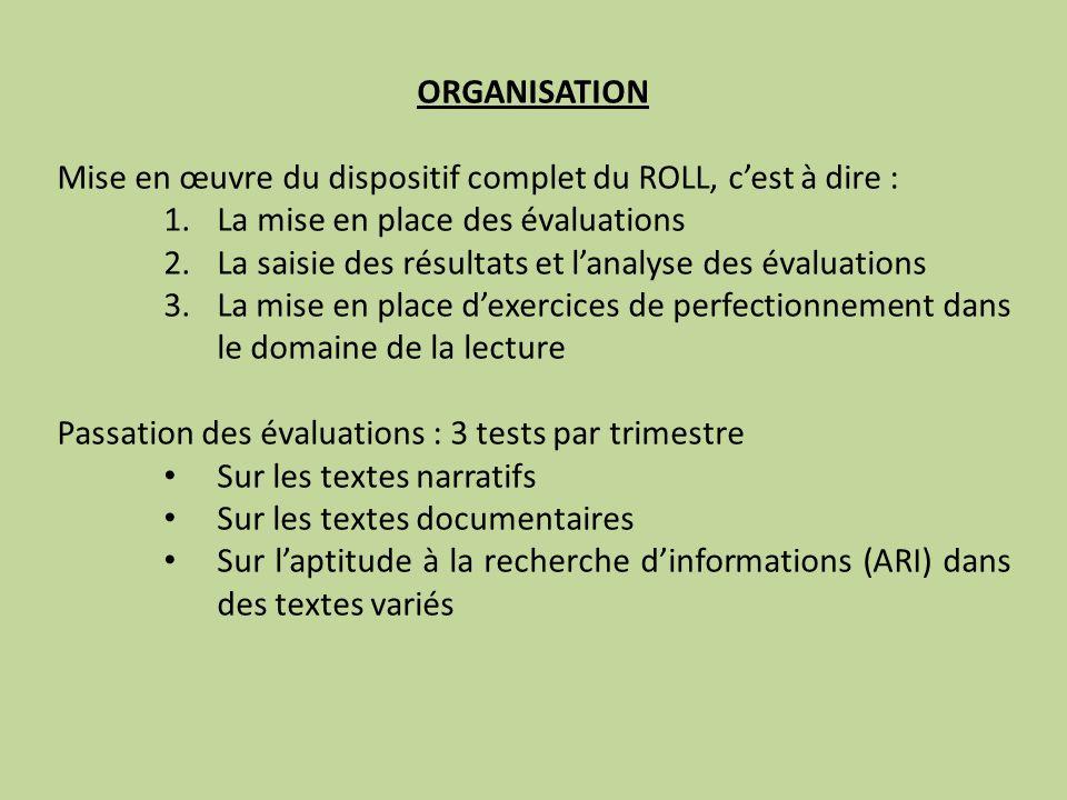 ORGANISATION Mise en œuvre du dispositif complet du ROLL, c'est à dire : La mise en place des évaluations.