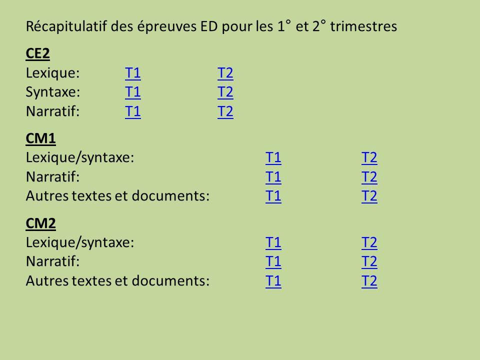 Récapitulatif des épreuves ED pour les 1° et 2° trimestres