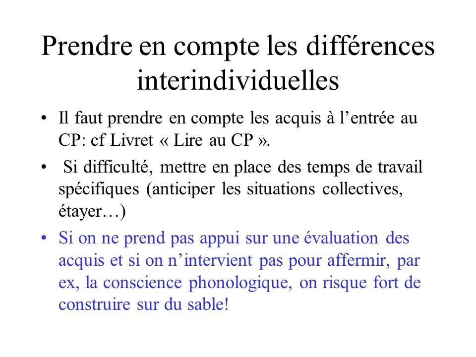 Prendre en compte les différences interindividuelles