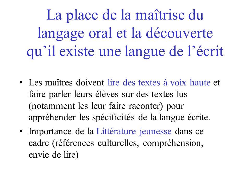La place de la maîtrise du langage oral et la découverte qu'il existe une langue de l'écrit