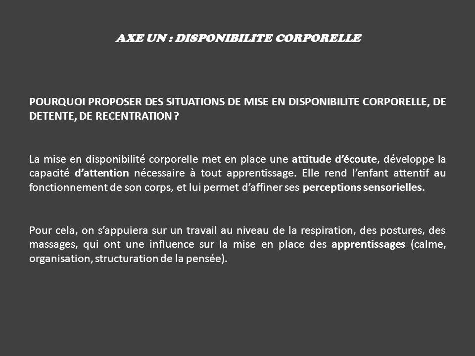 AXE UN : DISPONIBILITE CORPORELLE