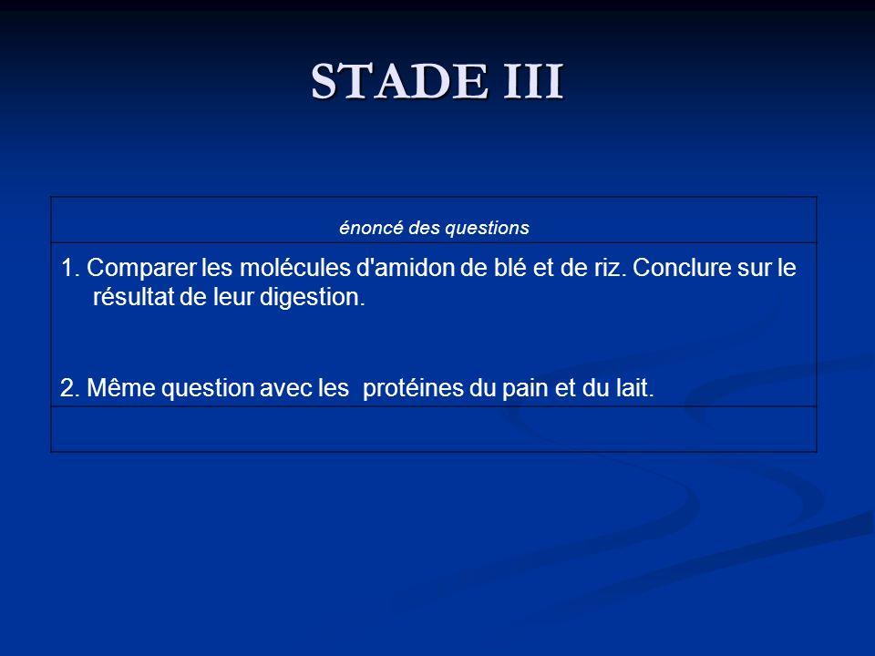 STADE III énoncé des questions. 1. Comparer les molécules d amidon de blé et de riz. Conclure sur le résultat de leur digestion.